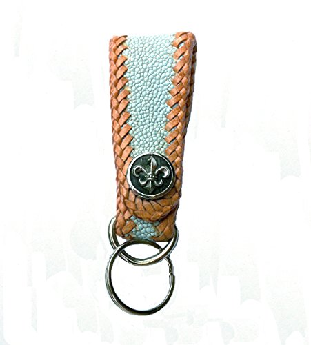 Aqua Dyed Sting Ray Leather Art Deco Key Fob with Tan Cowhide Lacing and Stainless Steel Fleur de Lis Snap