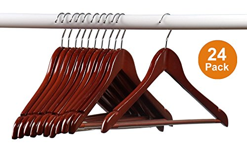 Home-it (24) Pack Solid Wood Clothes Hangers, Coat Hanger Light Cherry Wooden Hangers (Wooden Clothes Hanger compare prices)
