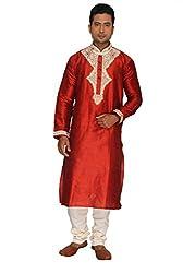 Rajubhai Hargovindas Men's Red Embroidered Kurta Pyjama Set