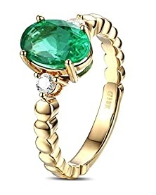 buy 1 Carat Green Emerald And Diamond Trilogy Engagement Ring In Yellow Gold
