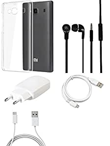 NIROSHA Cover Case Charger Headphone USB Cable for Xiaomi Redmi 2s - Combo