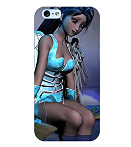 Printvisa Lonely Girl In Blue Back Case Cover for Apple iPhone 6S
