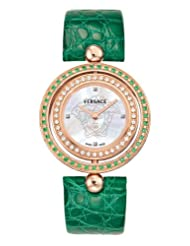 Versace Women's 79Q861D497 S220 Eon Reversible Tzavorite and Diamond Bezel Green Leather Watch
