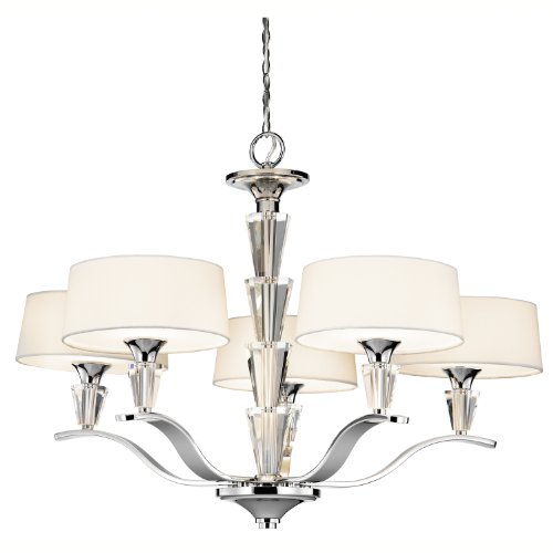 Ideal Kichler Lighting CH Crystal Persuasion Light Chandelier Chrome and White Linen Fabric Shades with Satin Etched Glass Diffusers