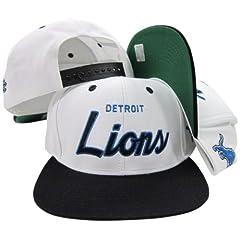 Detroit Lions White Blue Script Two Tone Adjustable Snapback Hat Cap by Reebok