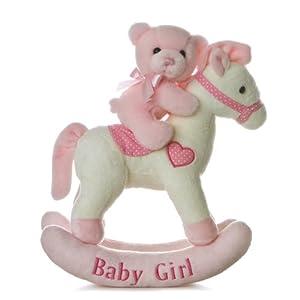 aurora baby plush rocking horse pink white baby. Black Bedroom Furniture Sets. Home Design Ideas