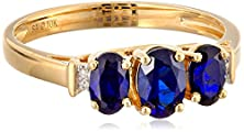 buy 10K Yellow Gold September Birthstone 3-Stone Created Sapphire With Diamond-Accent Ring, Size 8