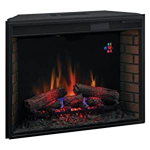 Fireplace Twin Star Classic Flame 33 Inch Fixed Glass Led Electric Fireplace Insert Heating