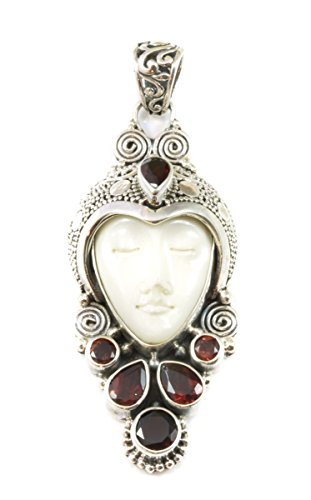 Sterling Silver Moon Face Goddess Necklace Pendant Garnet Filigree Work