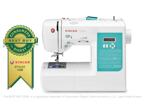 SINGER 7258 Stylist 100-Stitch Computerized Free-Arm Sewing Machine with Instructional DVD and More