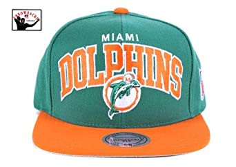 Miami Dolphins Aqua Orange Two Tone Plastic Snapback Adjustable Plastic Snap Back Hat... by Mitchell & Ness