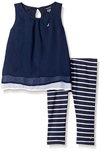 Nautica Toddler Layered Chiffon Top with Stripe Legging, Navy, 3T