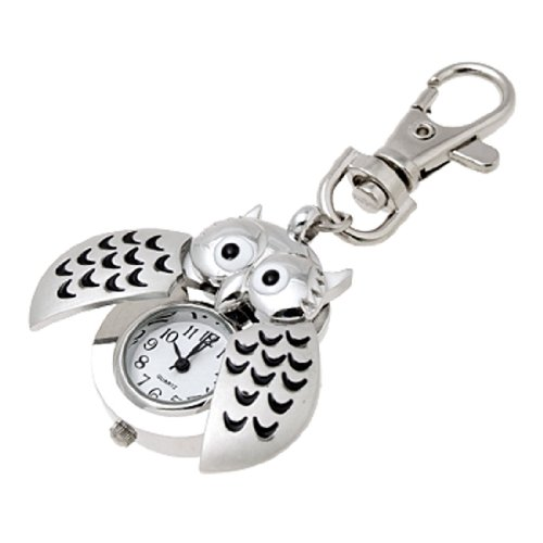 uxcell Mini Key Ring owl Quartz Watch Clock- Silver (Watch Clip compare prices)