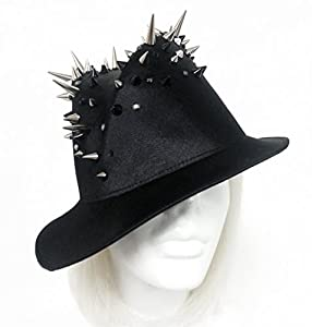 Black Satin Fedora Metal Spikes Rhinestones Beads