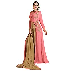 Bhelpuri Women Pink Georgette Semi-stitched Salwar Kameez