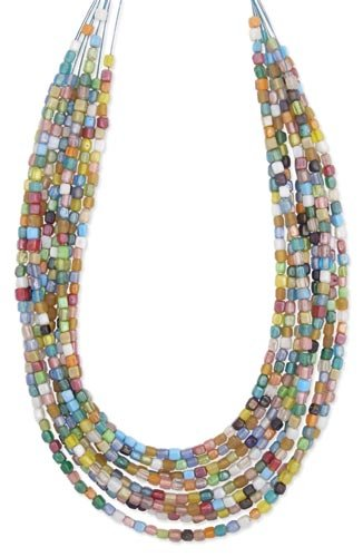 Multi Colored Square Glass Bead Mosaic 8-Strand Graduated Necklace