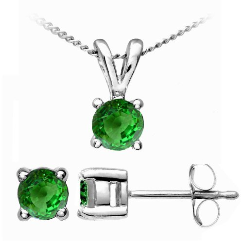 Attractive 9 ct White Gold Ladies Solitaire Earrings + Pendant with Tsavorite 0.92 Carat - 45cm*9mm*5mm