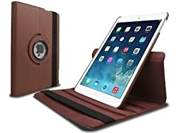Leather 360 Degree Rotating Smart Stand Case Cover For New iPad 4 iPad 3 iPad 2- Brown