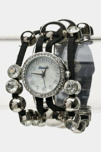 Chic Chelsea Crystal&Metal Watch W/Leather Strap (Black/Silver)