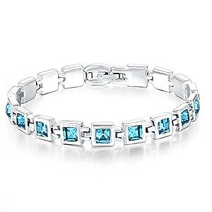 Valentine's Day Gift- Mondaynoon Austrian Crystal Bracelets For Women (Sky) (brass)