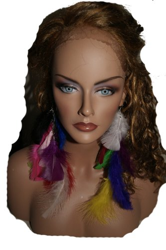 Long Feather Earring Multi Colored1 10 Inc
