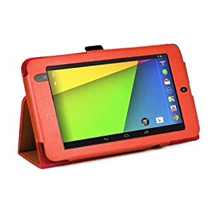 Orange New Google Nexus 7 2 II Tablet (Launched July 2013) Case-MOFRED® Executive Multi Function Standby Case with Built-in Magnet for Sleep / Wake feature for the Google Nexus 7 II-2nd Generation Tablet 16GB / 32GB , 3G / 4G , Bluetooth 4.0 / LTE / WiFi + Screen Protector + Stylus Pen (Available in Mutiple Colors)