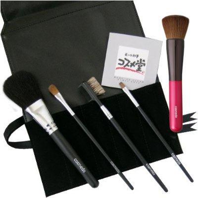 熊野筆 匠の化粧筆 コスメ堂 メイクブラシ スターターセット プラス ( 熊野筆 5本 + ブラシケース<黒> のセット ) -