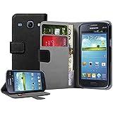 Membrane - Schwarz Brieftasche Klapptasche Hülle Samsung Galaxy Core (GT-i8260 / GT-i8262 Core Duos) - Wallet Flip Case Cover Schutzhülle