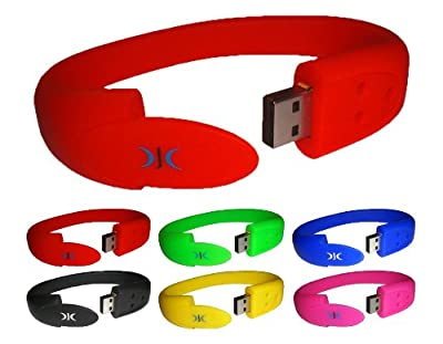WRISTBAND USB FLASH PEN DRIVE MEMORY STICK 8GB - Available in SIX colours - BRILLIANT GIFT from DJC Electronics