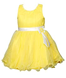 ChipChop Yellow Solid Net Dresses for Girls