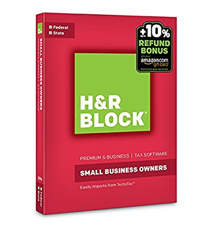 H&R Block Tax Software Premium & Business 2016 + Refund Bonus Offer PC Disc