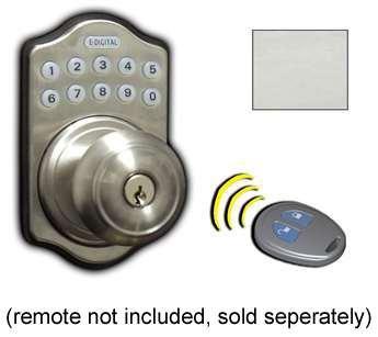 Lockey E-930 R Electronic Keypad Knob Handleset, Remote Control Capable, 6 User, Satin Nickel
