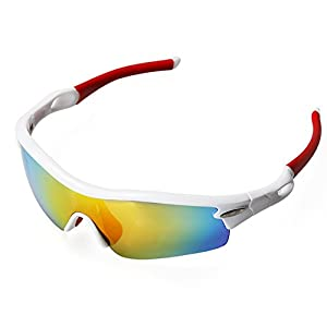 Pellor 2014 Cycling Wrap Running Outdoor Sports Sunglasses Multi Sport Glasses Exchangeable 3 Lenses Unbreakable Polarized UV400 (Colorful 1)