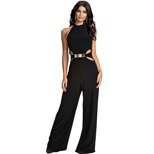 Clothesforu Women Style Casual Long High Neck Flared Trouser Suspenders Jumpsuit