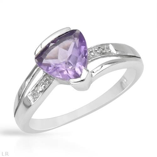 Ring With 1.51ctw Precious Stones - Genuine Amethyst and Diamonds Made in 925 Sterling silver (Size 8)