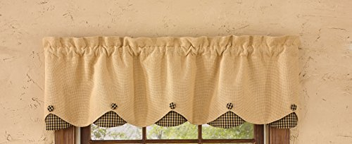 "Park Designs Burlap & Check Lined Scalloped Valance, 58 x 14"", Black"