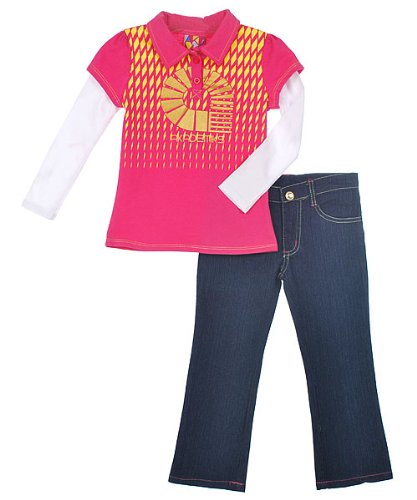 "Akademiks ""Divided Diamonds"" 2-Piece Outfit (Sizes 4 - 6X) - fuschia/purple, 6"