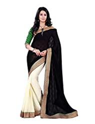 Sourbh Saree Preety Lace Work Black And Offwhite Jacquard And Chiffon Half Half Style Best Saree For Women, Women...