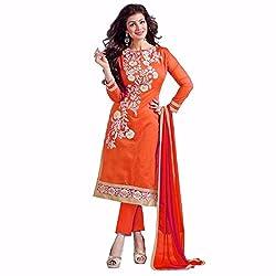 Floren Self Design Orange Cotton Embroidery Dress Material
