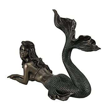 Mermaid Lying Down Statue Sculpture Nautical Figurine