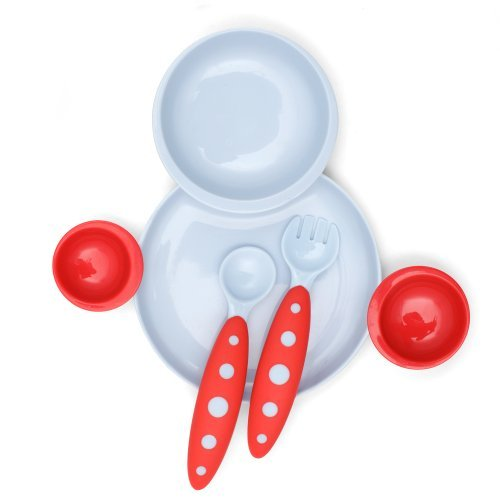 Boon Groovy And Modware Interlocking Plate And Bowl Set With Utensils, Cherry/Berry Cream Color: Cherry/Berry Cream Newborn, Kid, Child, Childern, Infant, Baby front-387620