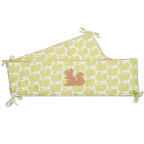 Baby Boum 28 x 340cm Cotton Rich Thick and Extra Long Playpen and Cot Bumper (Gimik Squirrel Collection, Lime)