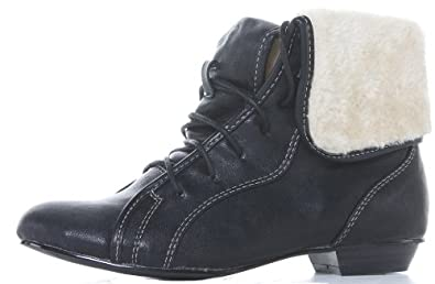 ladies Womens Black Brown Tan Lace up Flat Winter Ankle Boots Size 3 4 5 6 7 8