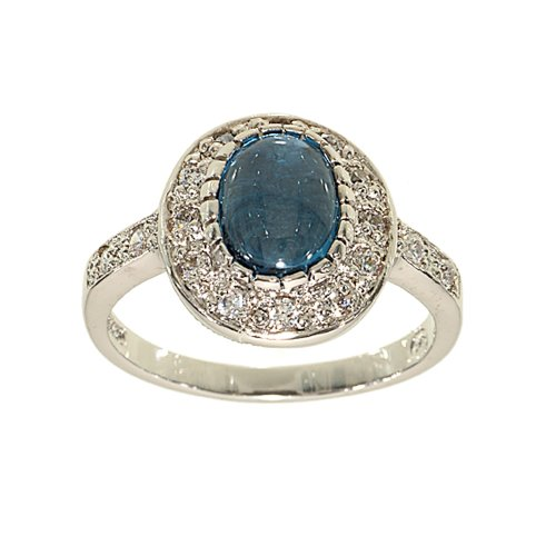 Refined Oval Engagement Style Fashion Ring in Genuine Blue Zircon Framed with Cubic Zirconia Size 6