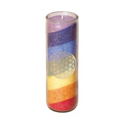 7-Chakra-Regenbogen-Kerze-Glaskerze-mit-goldenem-Aufkleber-der-Blume-des-Lebens