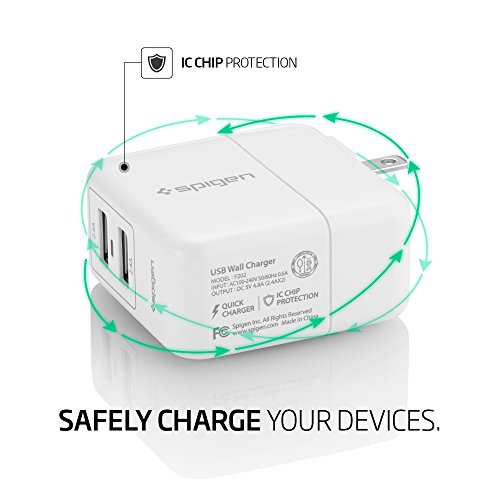 Spigen-F202-USB-Wall-Charger-2-Port-48-Amp-2-Pack-USB-Travel-Charger-USB-Charger-for-iPhone-77-plusSE6S6S-plus66-plusGoogle-PixelGalaxy-S7Galaxy-S7-EdgeLG-G5-and-More-2-Pack-White