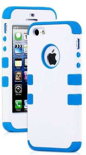 Mylife (Tm) Electric Blue - White Flat Matte Series (Neo Hypergrip Flex Gel) 3 Piece Case For Iphone 5/5S (5G) 5Th Generation Itouch Smartphone By Apple (External 2 Piece Fitted On Hard Rubberized Plates + Internal Soft Silicone Easy Grip Bumper Gel + Lif