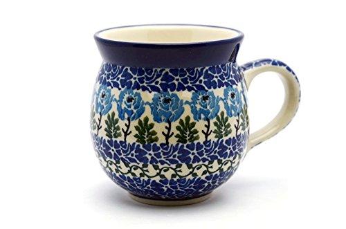 Polish Pottery Mug - 11 Oz. Bubble - Antique Rose Pattern