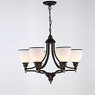 Zhy-Vintage Chandelier Light 6 Lights Glass Shades Black Painting E26 E27 Bulbs Chandeliers For Living Room Bed Room Loft Light ,Yc900