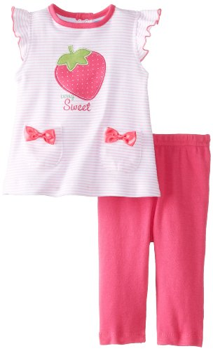Bon Bebe Baby-Girls Newborn Berry Sweet Cap Sleeve Top With Legging Pant, Multi, 0-3 Months front-965209